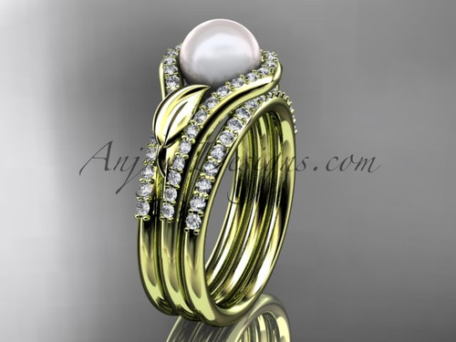 14k yellow gold diamond pearl leaf engagement ring with a double matching band AP334S