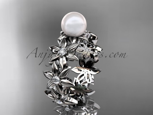 14kt white gold diamond pearl engagement ring AP339