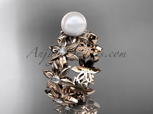 14kt rose gold diamond pearl engagement ring AP339