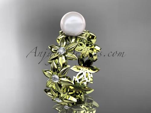 14kt yellow gold diamond pearl engagement ring AP339