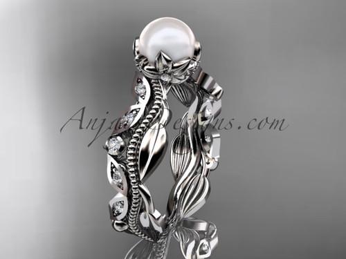 Platinum diamond pearl unique engagement ring, wedding ring AP342