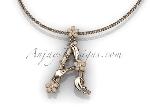 14k rose gold diamond floral, leaf and vine initial pendant ADLR196