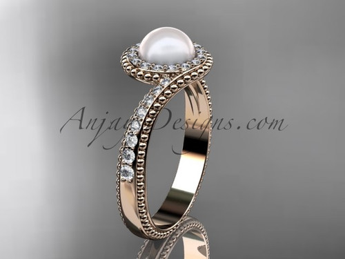 14kt White Gold Diamond Vintage Pearl Ring AP379