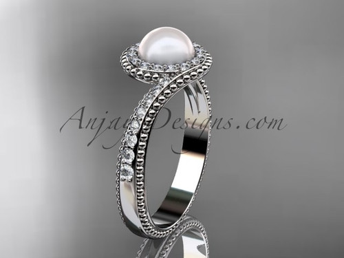 Platinum Diamond Vintage Pearl Ring AP379