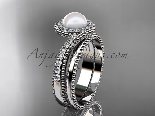 14kt White Gold Pearl and Diamond Bridal Set AP379S