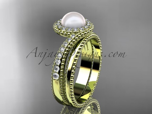 14kt Yellow Gold Pearl and Diamond Bridal Set AP379S