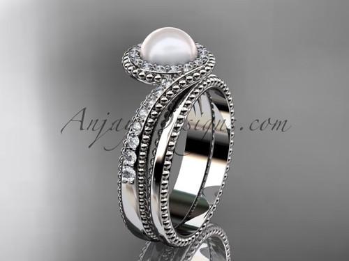 Pearl and Diamond Engagement Ring Platinum Bridal Set AP379S