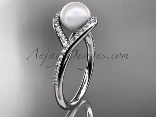 Platinum diamond pearl unique engagement ring, wedding ring AP383