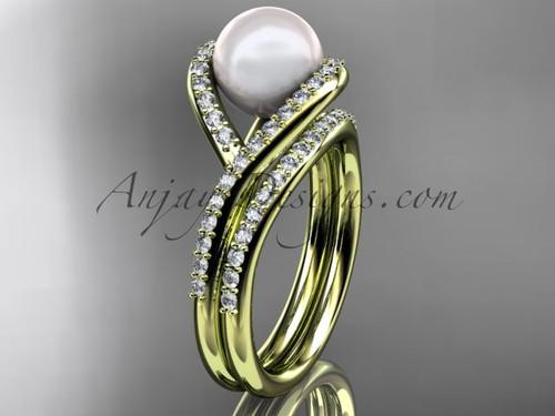 14kt yellow gold diamond pearl unique engagement set, wedding ring AP383S