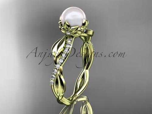14k yellow gold diamond pearl leaf engagement ring AP385