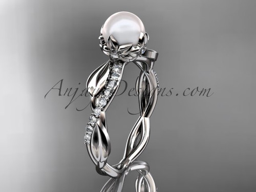 Platinum diamond pearl leaf engagement ring AP385