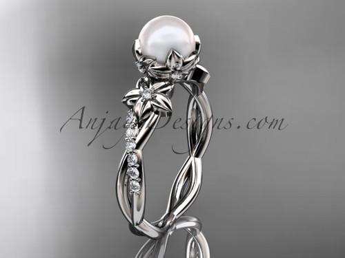 14k white gold diamond pearl flower engagement ring AP388