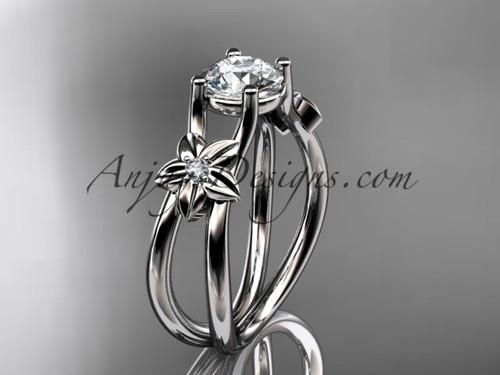 14kt white gold diamond floral wedding ring, engagement ring ADLR130