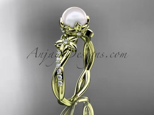 14k yellow gold diamond pearl flower engagement ring AP388