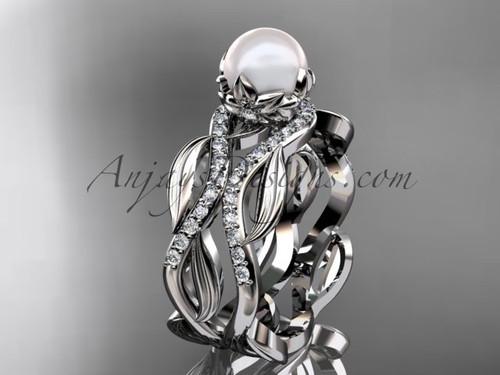 Unique 14kt white gold diamond pearl floral leaf and vine engagement set AP264