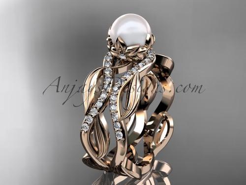 14kt pink gold pearl floral leaf and vine engagement ring AP264