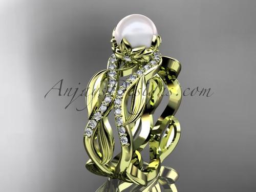 Unique 14kt yellow gold diamond pearl floral leaf and vine engagement set AP264