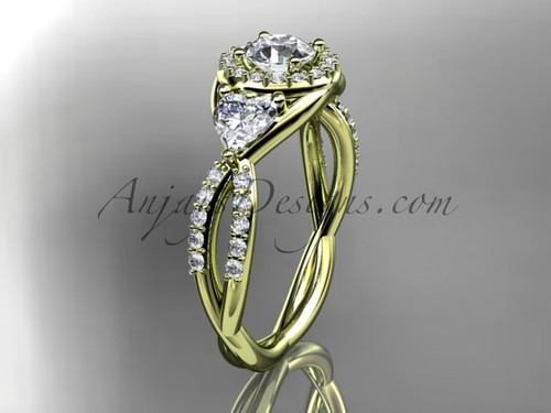 """14kt yellow gold diamond engagement ring, wedding ring with a """"Forever One"""" Moissanite center stone ADLR321"""