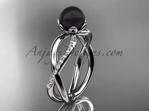 Black Pearl Engagement Rings, Platinum Diamond Ring VBP870