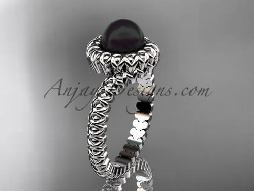 White Gold Black Pearl Engagement Ring  no Diamond VBP1006