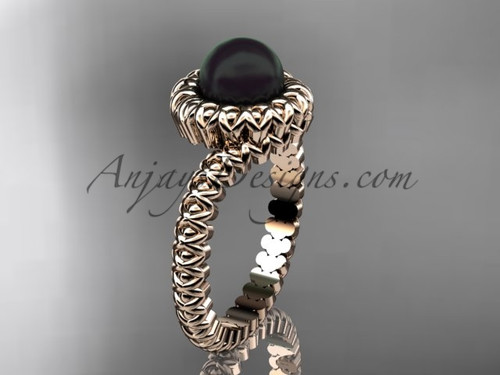 Simple Rose Gold Black Pearl Bridal Ring  no Diamond VBP1006