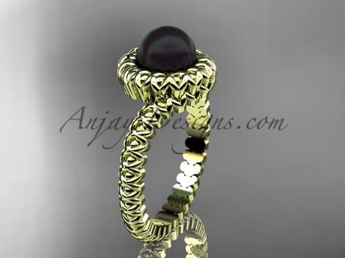 Yellow Gold Black Pearl Engagement Ring  no Diamond VBP1006