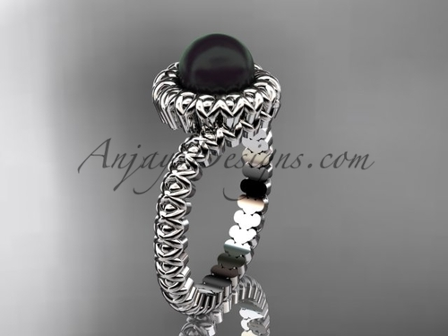 Platinum Black Pearl Wedding Ring  no Diamond VBP1006
