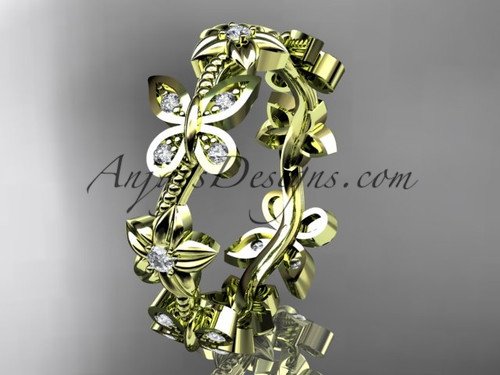 14kt yellow gold diamond floral butterfly wedding ring, engagement ring, wedding band ADLR139B