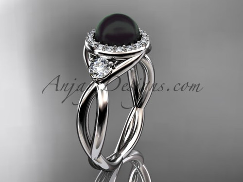 14kt white gold diamond, pearl engagement ring VBP8127