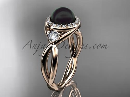 14kt rose gold diamond, pearl engagement ring VBP8127