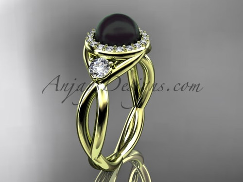 14kt yellow gold diamond, pearl engagement ring VBP8127