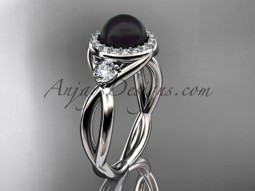Platinum diamond, pearl engagement ring VBP8127