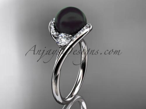 14kt white gold diamond, pearl engagement ring VBP8166