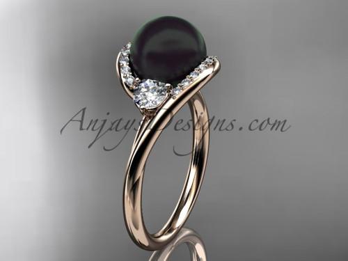 14kt rose gold diamond, pearl engagement ring VBP8166