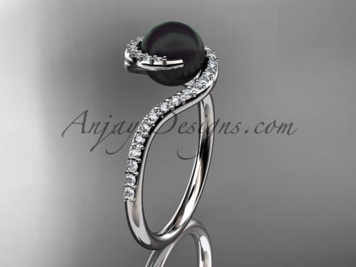 14kt white gold diamond, pearl engagement ring VBP8199
