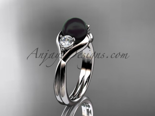 14kt white gold Unique pearl engagement ring VBP8220