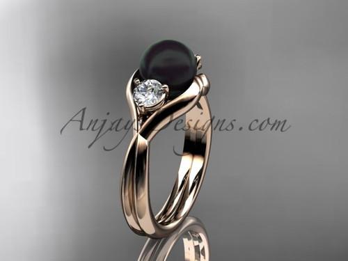 14kt rose gold Unique pearl engagement ring VBP8220