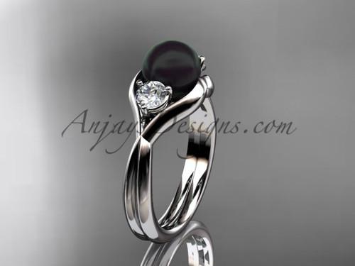Platinum Unique pearl engagement ring VBP8220