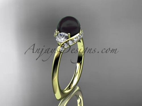 Unique 14kt yellow gold diamond Pearl engagement ring VBP8225