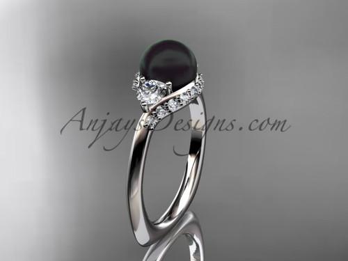 Unique Platinum diamond Pearl engagement ring VBP8225