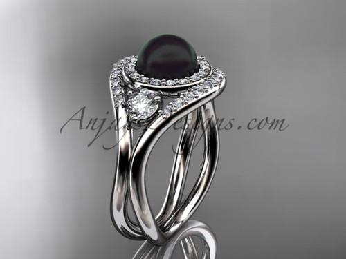 Unique 14kt white gold diamond, Pearl engagement ring VBP8245