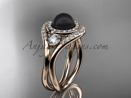 Unique 14kt rose  gold diamond, Pearl engagement ring VBP8245