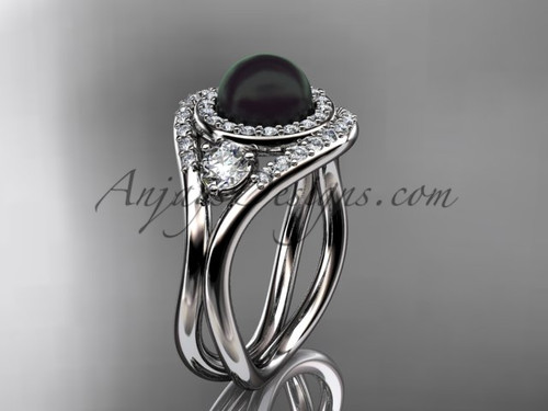 Unique Platinum diamond, Pearl engagement ring VBP8245