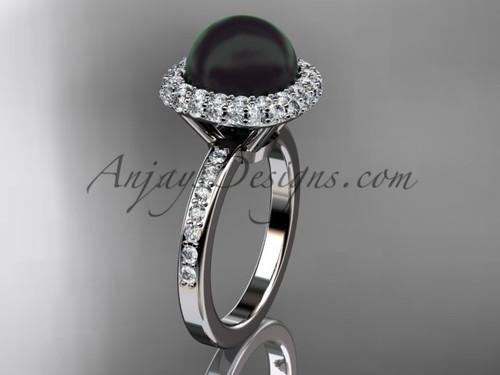 Unique 14kt white gold diamond Pearl engagement ring VBP10015