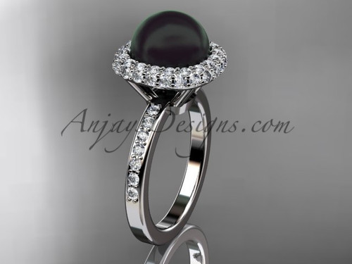Unique Platinum diamond Pearl engagement ring VBP10015