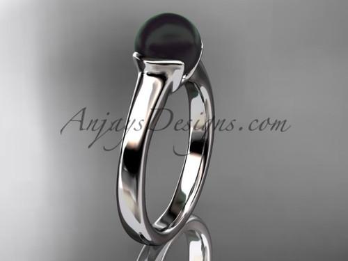Black Pearl Bridal Rings White Gold Vintage Ring VBP10016
