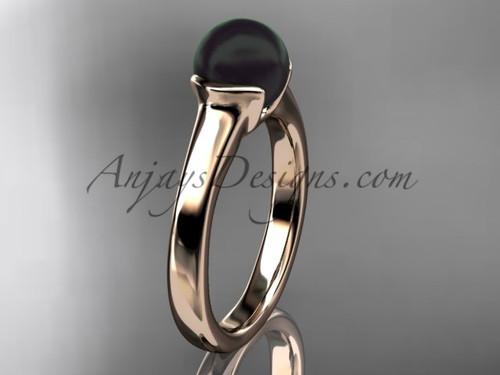Black Pearl Engagement Rings Rose Gold Vintage Ring VBP10016