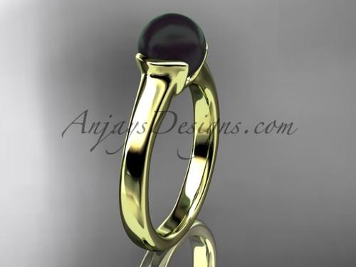 Black Pearl Wedding Rings Yellow Gold Vintage Ring VBP10016