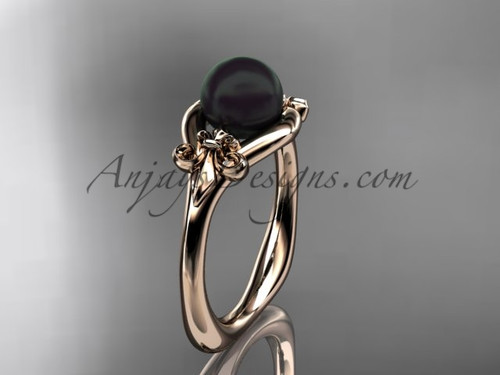 14k rose gold Fleur de Lis, Round Tahitian Black Cultured Pearl engagement ring VBP10022