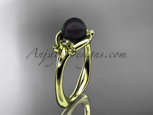 14k yellow gold Fleur de Lis, Round Tahitian Black Cultured Pearl engagement ring VBP10022